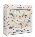 Loulou LOLLIPOP Ecofriendly  Muslin Quilt Blanket - Llama
