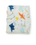 Loulou LOLLIPOP Ecofriendly  Fitted Muslin Crib Sheet - Dinosaurs