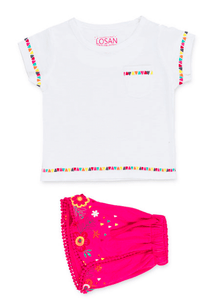 Set including shorts and top with embroidered sleeves and hem-Design in Spain-Gigil