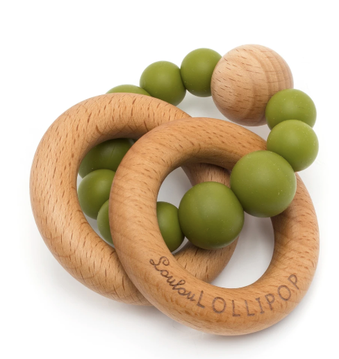 Loulou LOLLIPOP Bubble Silicone and Wood Teether - Olive Green - Gigil