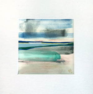 Beachscape 3 by Shana Grugan Acrylic on Paper 6 x 6 matted and framed to 11 x 11