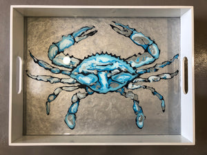 Large Crab Tray by Blue Moon Art, 18x14x3, wooden tray with acrylic pour crab and resin finish