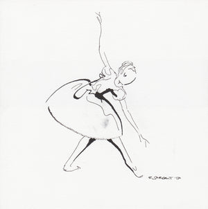 Curtain Call pen and ink drawing of a ballerina by Rick Sargent of Draw South through Straight to Art, Charleston, SC