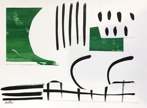 Emerald Abstract by Meg Britten, collage on paper
