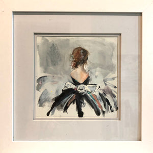Framed Woman in Dress III by Ali Leja. 8x8 in. painting  matted and framed to 14x14 in.
