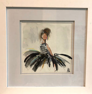 Framed Woman in Dress II by Ali Leja. 8x8 in. painting  matted and framed to 14x14 in.