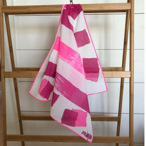 Hot Fuschia and Magenta Block Cotton Scarf by Michelle Owenby. Handpainted cotton scarf