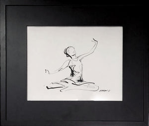 "Her Moment to Shine by Rick Sargent. 8"" x 10"" Pen and Ink  Frame included"