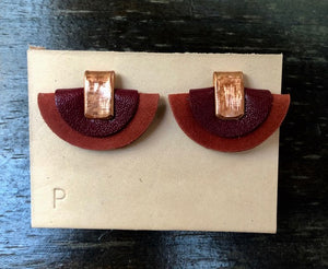 Petite Half Moon Leather Earrings: Deep Red and Light Red