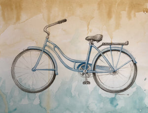 Bike 03 by Rick Sargent. Mixed Media  Watercolor and Charcoal  9 x 12  11 x 14 framed