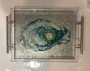 Acrylic tray with painting of blue oyster by Suzanne Leonard of Blue Moon Art  Silver handles  11 x 14 x 2 in.