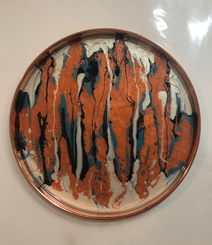 Round, copper tray with fluid abstract painting and resin finish,  Diameter 13 in. By Blue Moon art