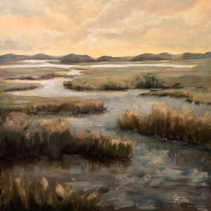 Changing Tides by Cynthia Huston. oil painting on canvas, 30x30 in.