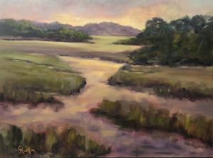 Low Country Reflections by Cynthia Huston. oil painting on canvas, 30x40 in.