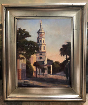 Holy City Sunset by Cynthia Huston. oil painting on canvas, 16x20 in.  framed to 24x28 in.