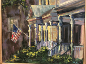 Church Street Blues by Cynthia Huston. oil painting on canvas, 16x20 in.  framed to 20x24 in.