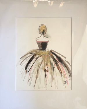 Woman in Neutral Dress II by Ali Leja. 11x14 matted to 16x20