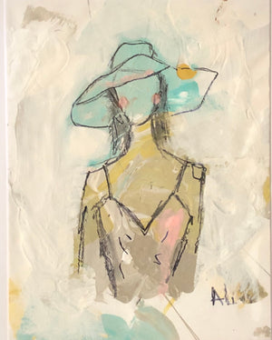 Palette Paper Beach Lady II by Ali Leja. 11 x 14   Matted to 16 x 20