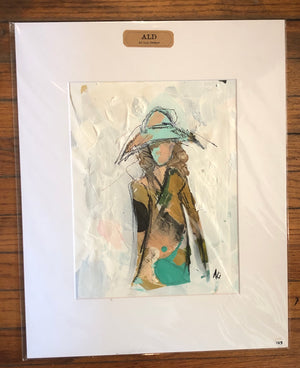 Palette Paper Beach Lady by Ali Leja. 11 x 14   Matted to 16 x 20