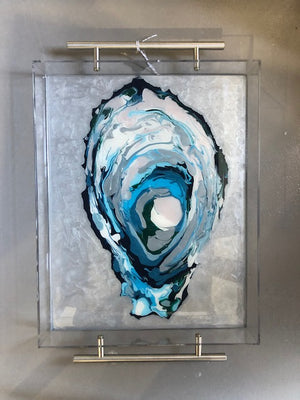 Acrylic tray with abstract painting by Suzanne Leonard of Blue Moon Art  Silver handles  11 x 14 x 2 in.