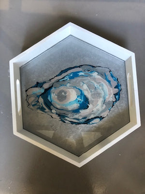 Wooden tray with abstract painting by Suzanne Leonard of Blue Moon Art  12.5 x 14 x 2.5 in. Hexagonal Tray