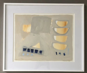 Sempre Blue and Gold I Framed in White by Meghan Starling