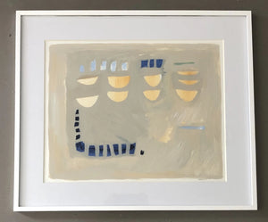 Sempre Blue and Gold II Framed in White by Meghan Starling