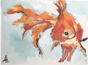 The Happiest Goldfish by Ali Leja. 30x40 on canvas.