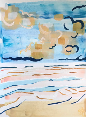 Traded Sorrows Coastal Landscape Acrylic on Paper by Shana Grugan