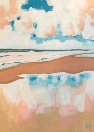 Wet Sand Coastal Landscape Acrylic on Paper by Shana Grugan