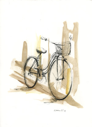 Bike 01 by Rick Sargent. Mixed Media Watercolor and Charcoal  9 x 12  11 x 14 framed