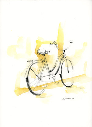 Bike 02 by Rick Sargent. Mixed Media  Watercolor and Charcoal  9 x 12  11 x 14 framed