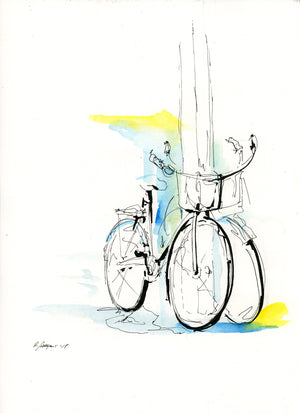 Bike 04 by Rick Sargent. Mixed Media  Watercolor and Pen and Ink  9 x 12  11 x 14 framed