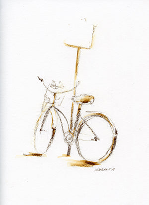 Bike 05 by Rick Sargent. Mixed Media  Watercolor and ArtGraf  9 x 12  11 x 14 framed