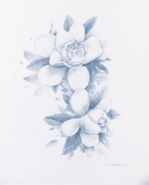 "Blue Gardenia 8"" x 10"" Colored pencil on paper by Rick Sargent  16"" x 20"" Frame and matte included"