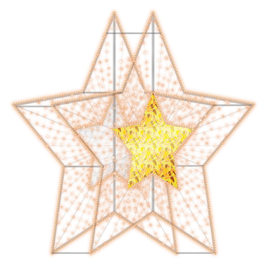 2D/3D Enchanted Gold Star - 9.8ft - artistic-holiday-designs