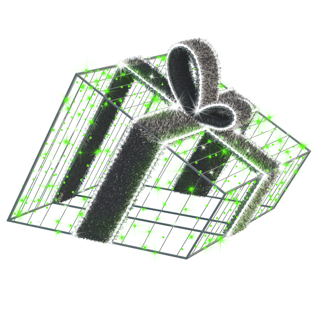 3D Giftbox - Green - 3.28ft - artistic-holiday-designs