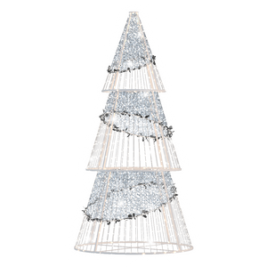 Silver Sparkle Cone Tree - 10.82ft - artistic-holiday-designs