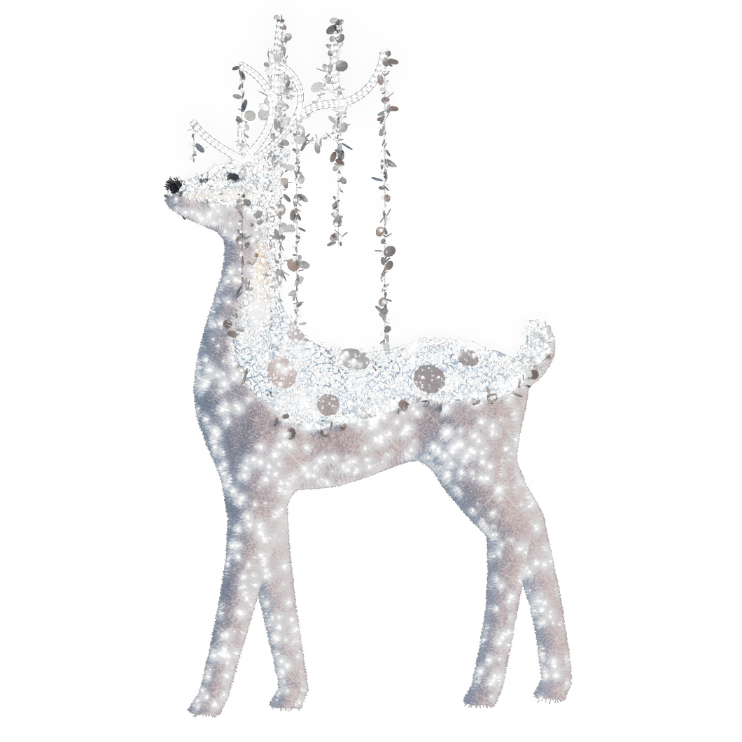 Reindeer in White with Silver Spangles - 9.84ft