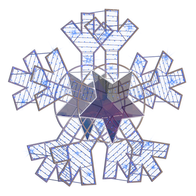 2D/3D Enchanted Blue Snowflake - 9.8ft - artistic-holiday-designs