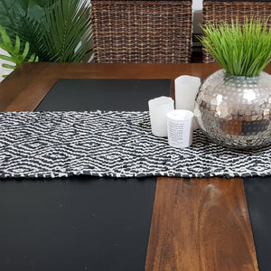 Charcoal Leather Table Runner