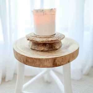 Raw Antique Wooden Candle Holder- Design 5