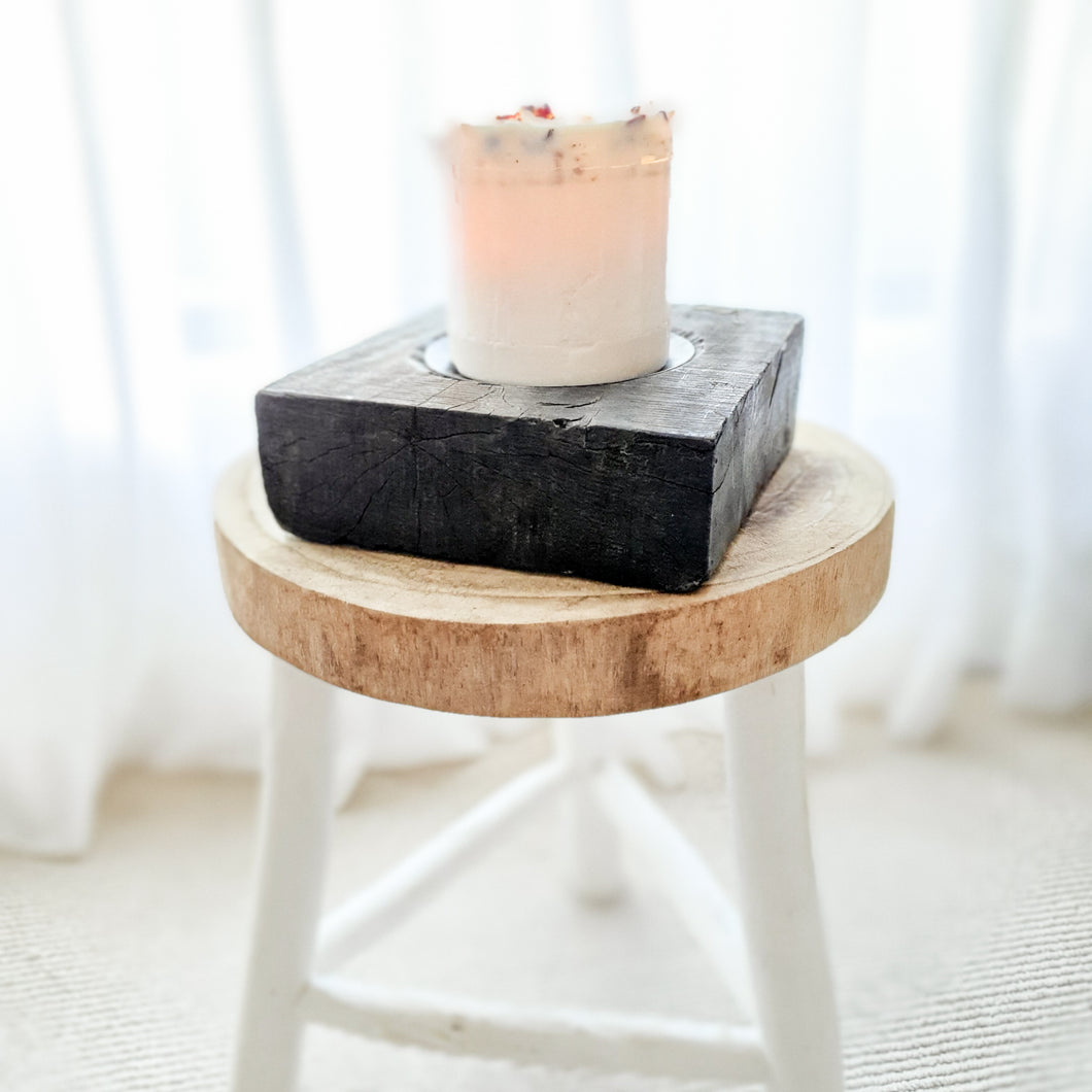 Ayla Antique Wooden Candle Holder- design 3