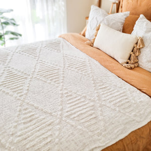 Everly White Throw blanket