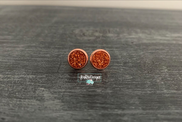 Copper Sparkle with Rose Gold Stud