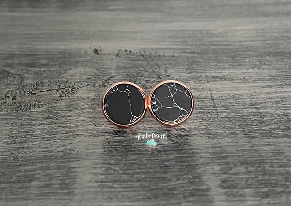 Black Faux Marble with Rose Gold Stud