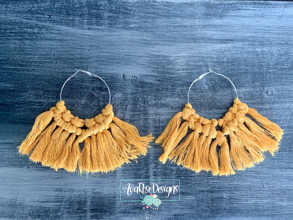 Large Mustard Yellow Macrame