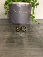 Metallic Red-Green-Gold with Black Stud