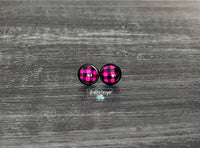 Hot Pink Buffalo Plaid with Black Stud