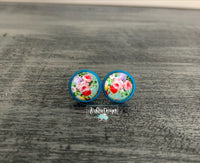 Antique Flower with Teal Stud